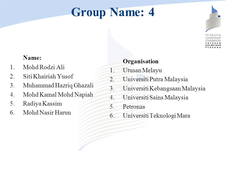 Group Name: 4 Name: Mohd Rodzi Ali Organisation Siti Khairiah Yusof