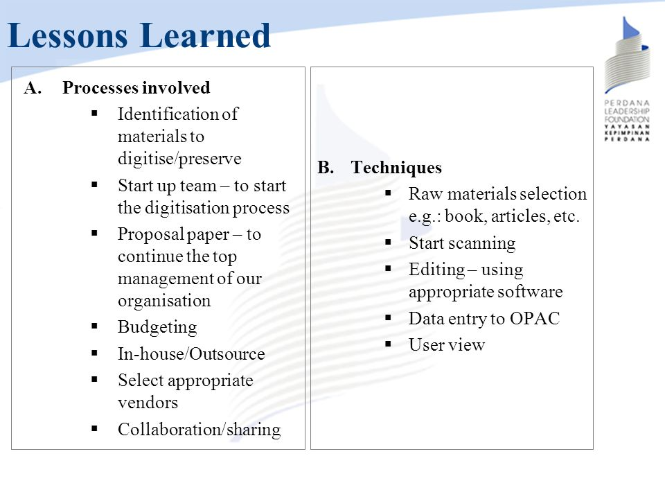 Lessons Learned Processes involved
