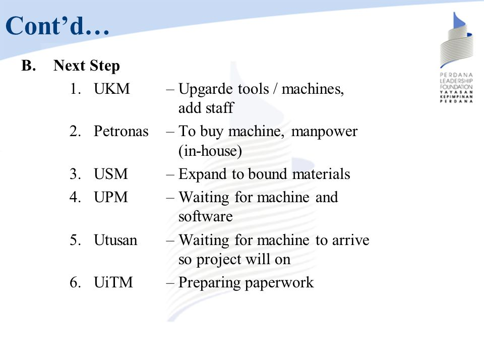 Cont'd… Next Step UKM – Upgarde tools / machines, add staff
