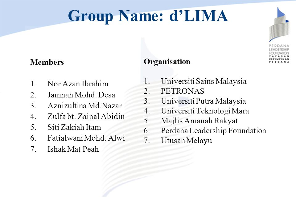 Group Name: d'LIMA Members Nor Azan Ibrahim Jamnah Mohd. Desa