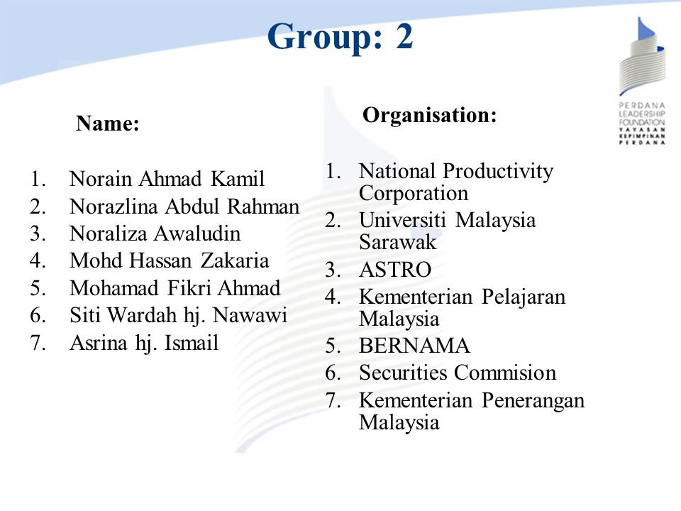 Group: 2 Organisation: Name: National Productivity Corporation