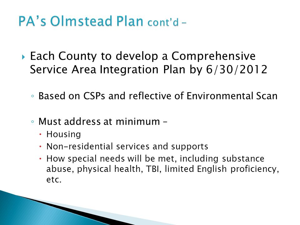 PA's Olmstead Plan cont'd -