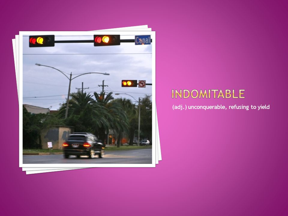 indomitable (adj.) unconquerable, refusing to yield