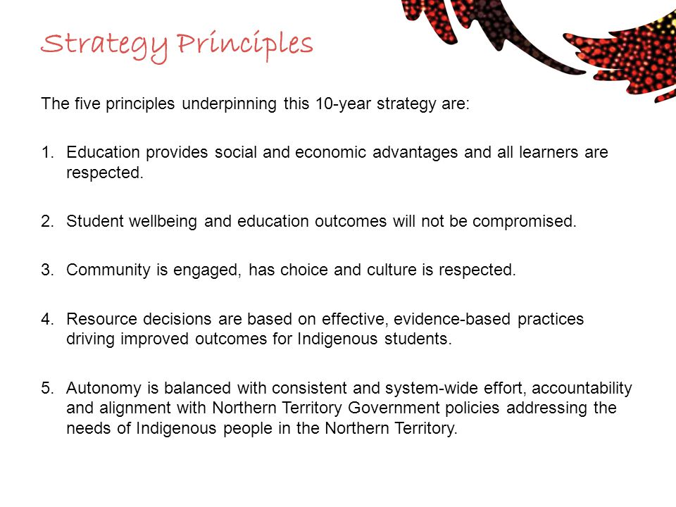 Strategy Principles The five principles underpinning this 10-year strategy are: