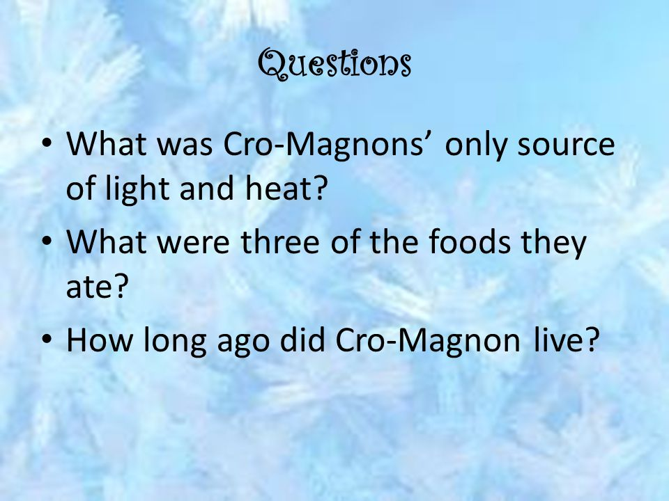 Questions What was Cro-Magnons' only source of light and heat