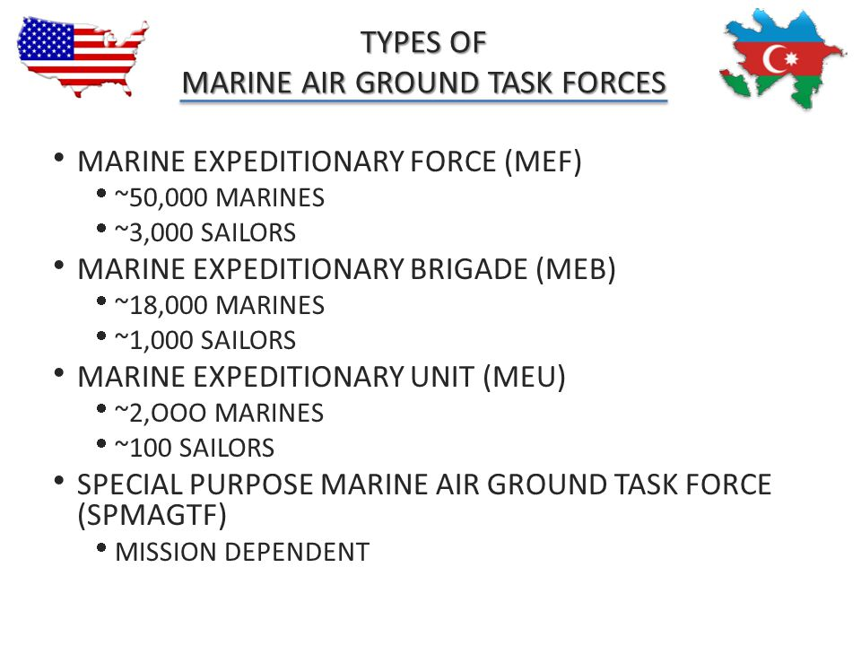TYPES OF MARINE AIR GROUND TASK FORCES
