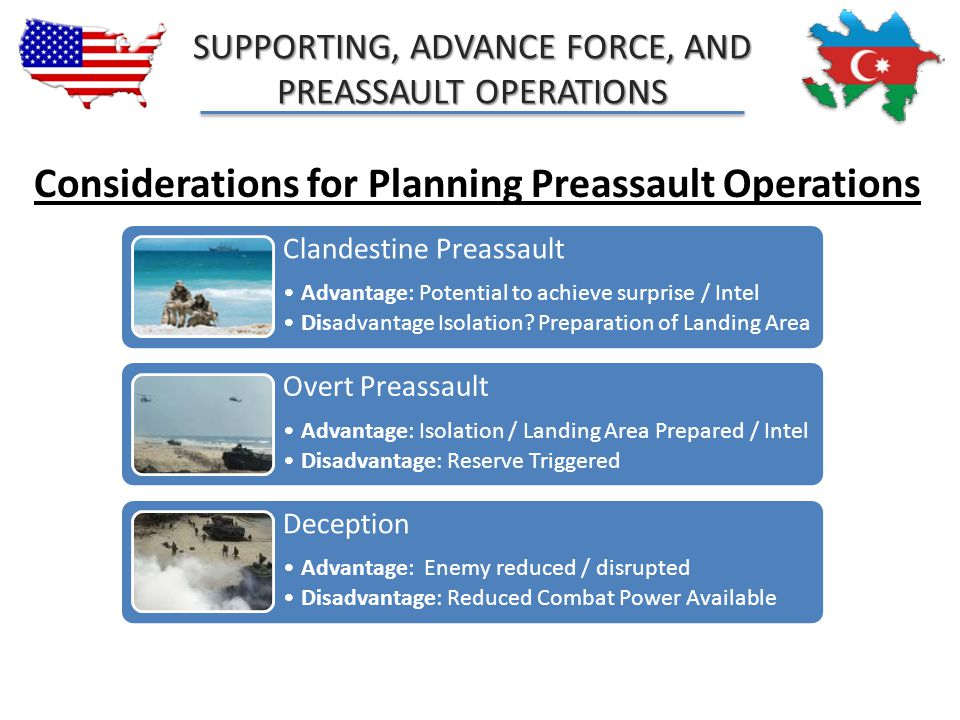 Considerations for Planning Preassault Operations