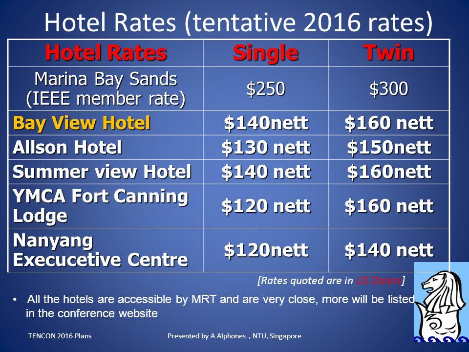 Hotel Rates (tentative 2016 rates)