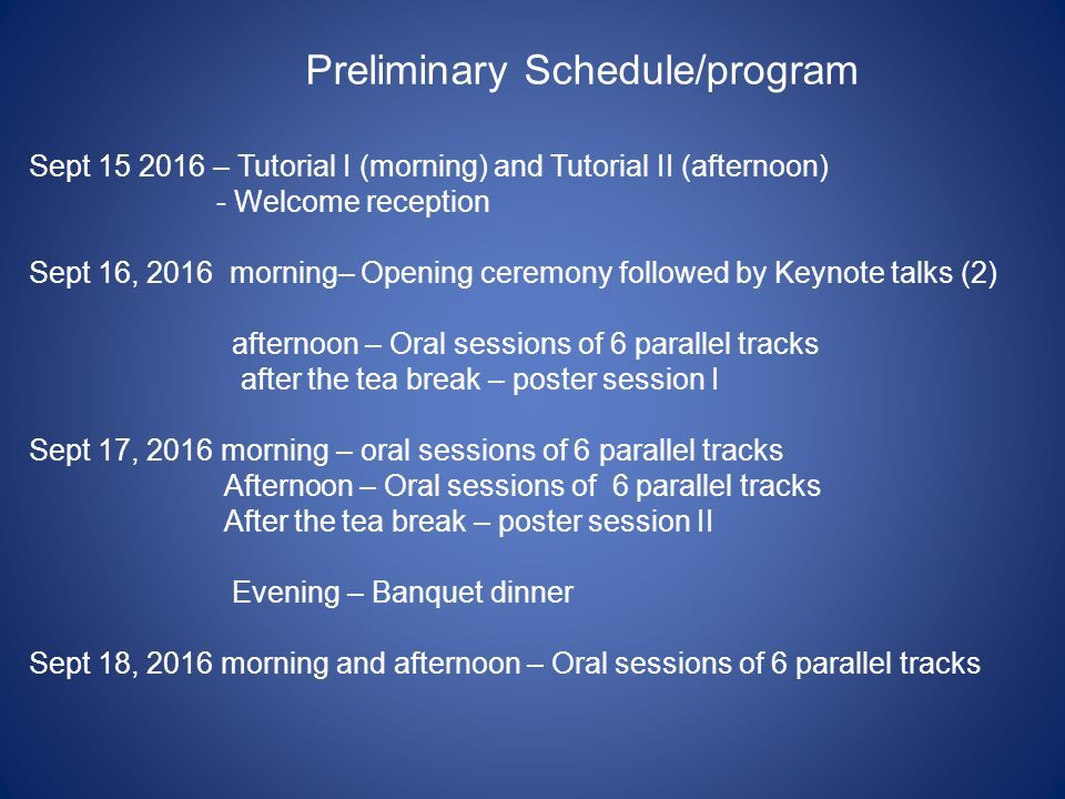 Preliminary Schedule/program