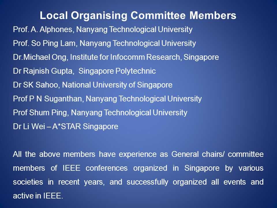 Local Organising Committee Members