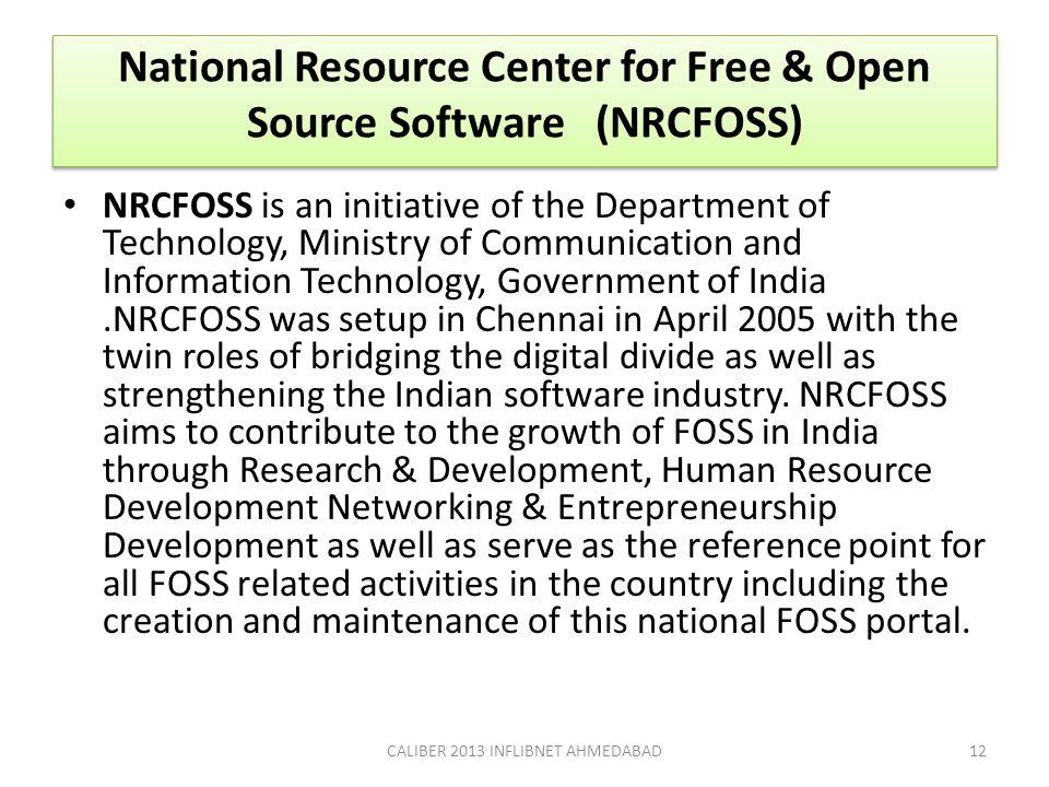 National Resource Center for Free & Open Source Software (NRCFOSS)