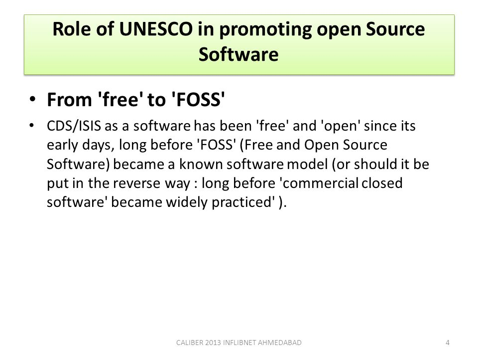 Role of UNESCO in promoting open Source Software
