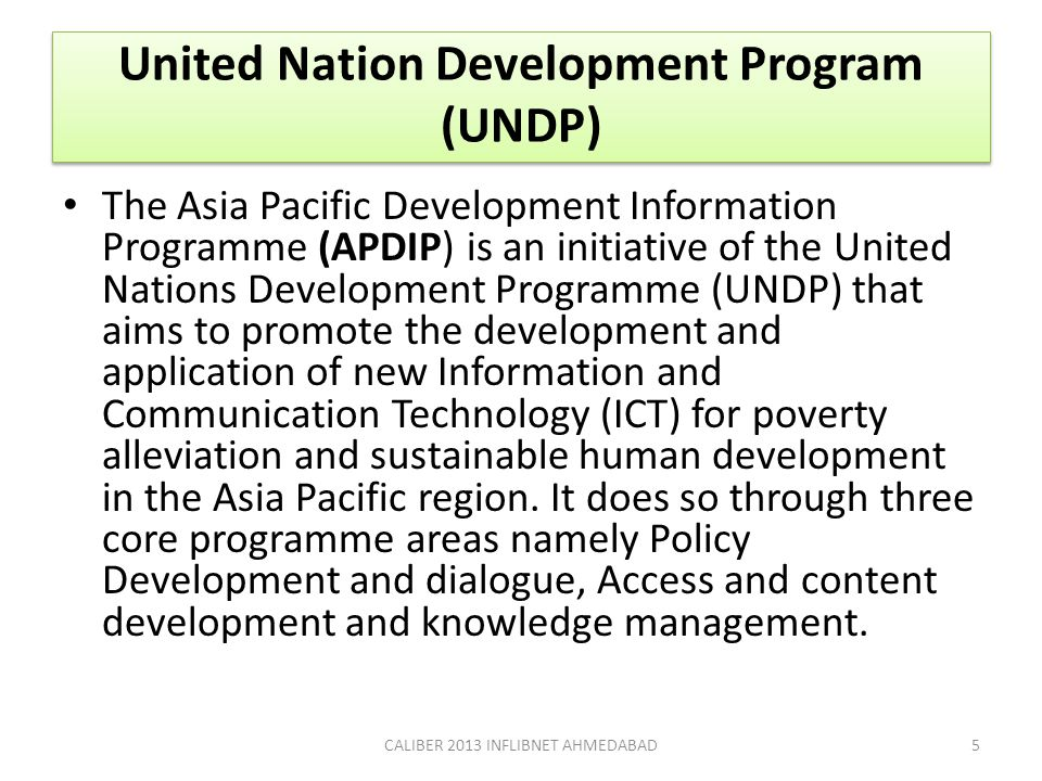 United Nation Development Program (UNDP)