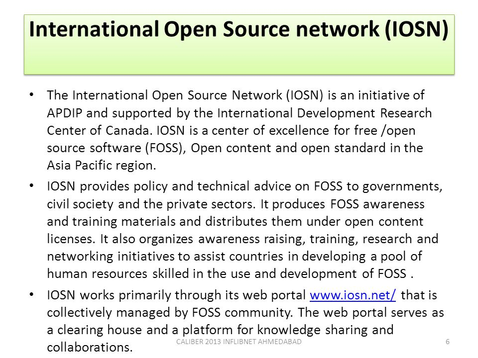 International Open Source network (IOSN)