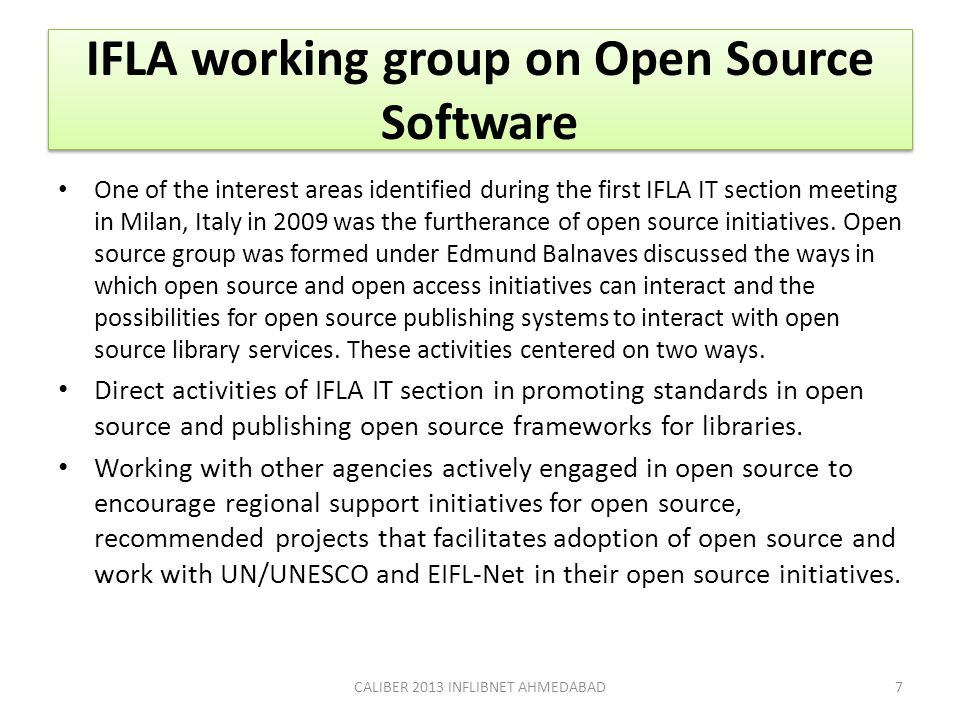 IFLA working group on Open Source Software