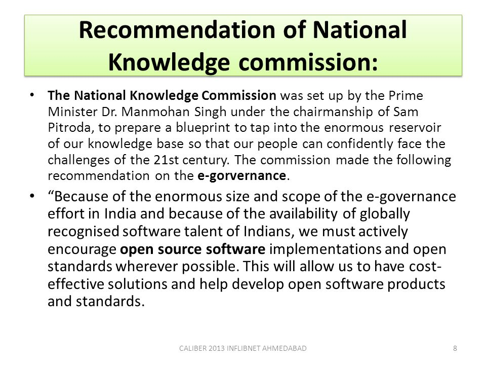 Recommendation of National Knowledge commission: