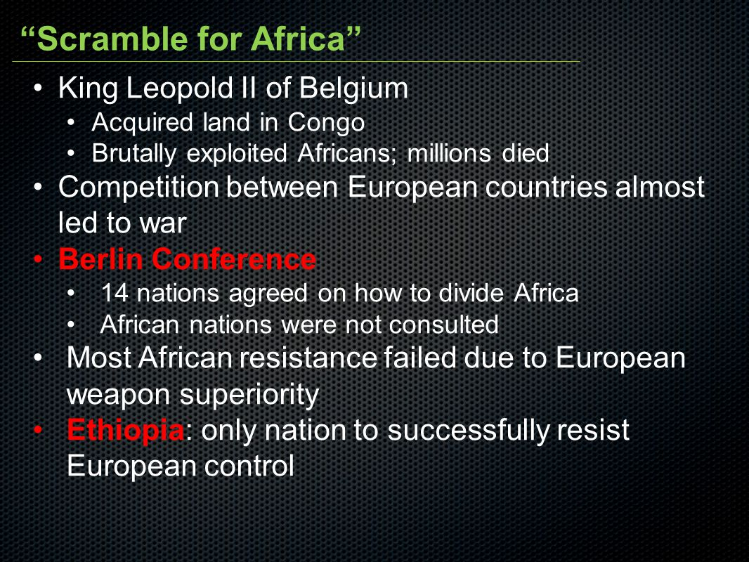 Scramble for Africa King Leopold II of Belgium