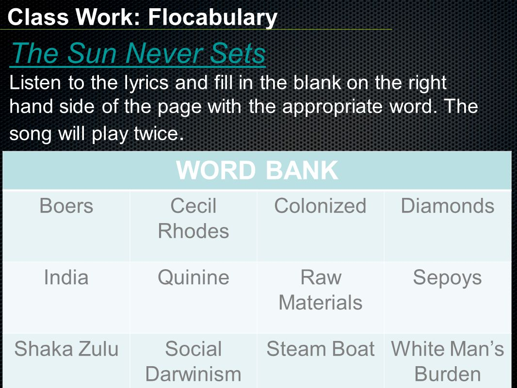 The Sun Never Sets WORD BANK Class Work: Flocabulary Boers