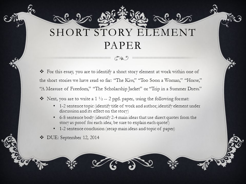 the short story readings elements ppt  10 short story element paper