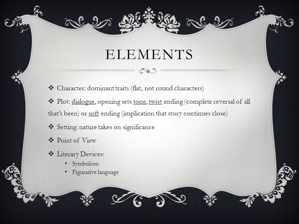 Elements Character: dominant traits (flat, not round characters)