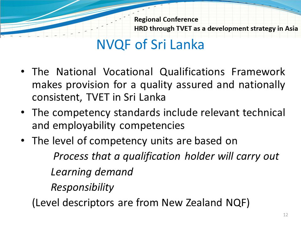 NVQF of Sri Lanka The National Vocational Qualifications Framework makes provision for a quality assured and nationally consistent, TVET in Sri Lanka.