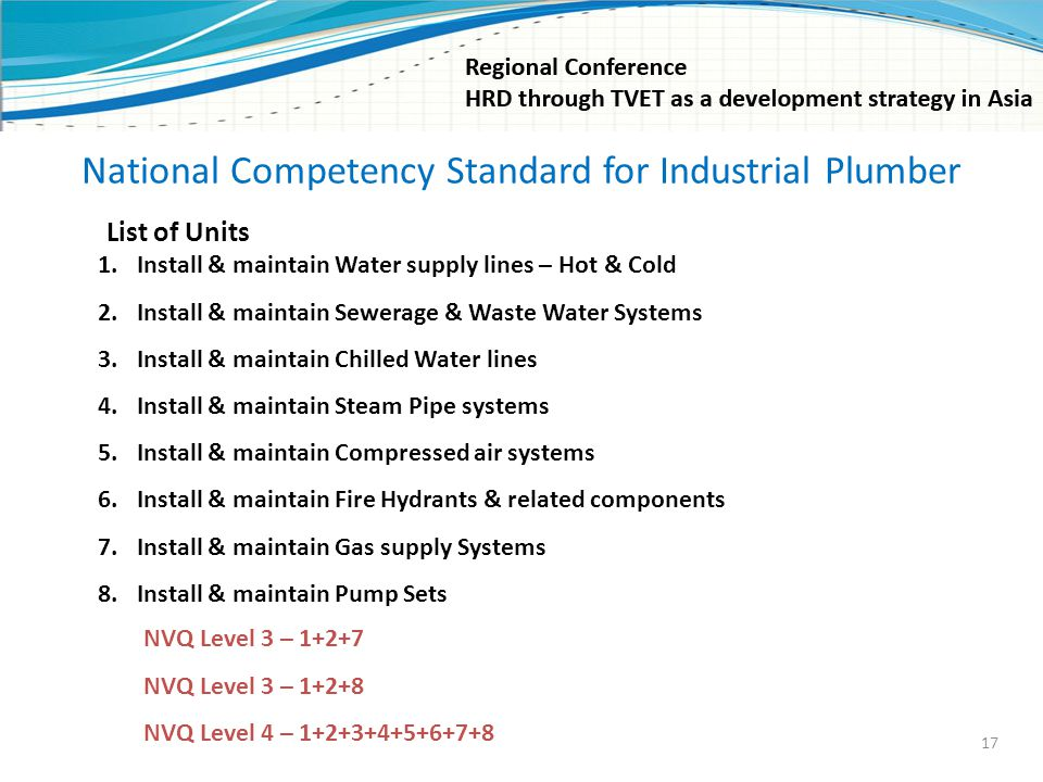 National Competency Standard for Industrial Plumber