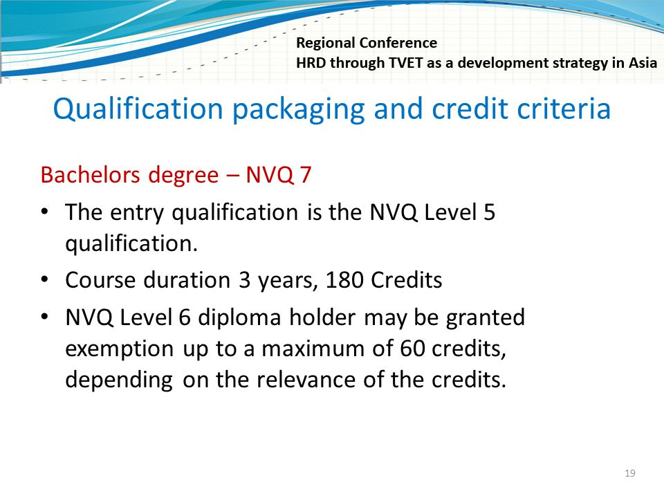 Qualification packaging and credit criteria