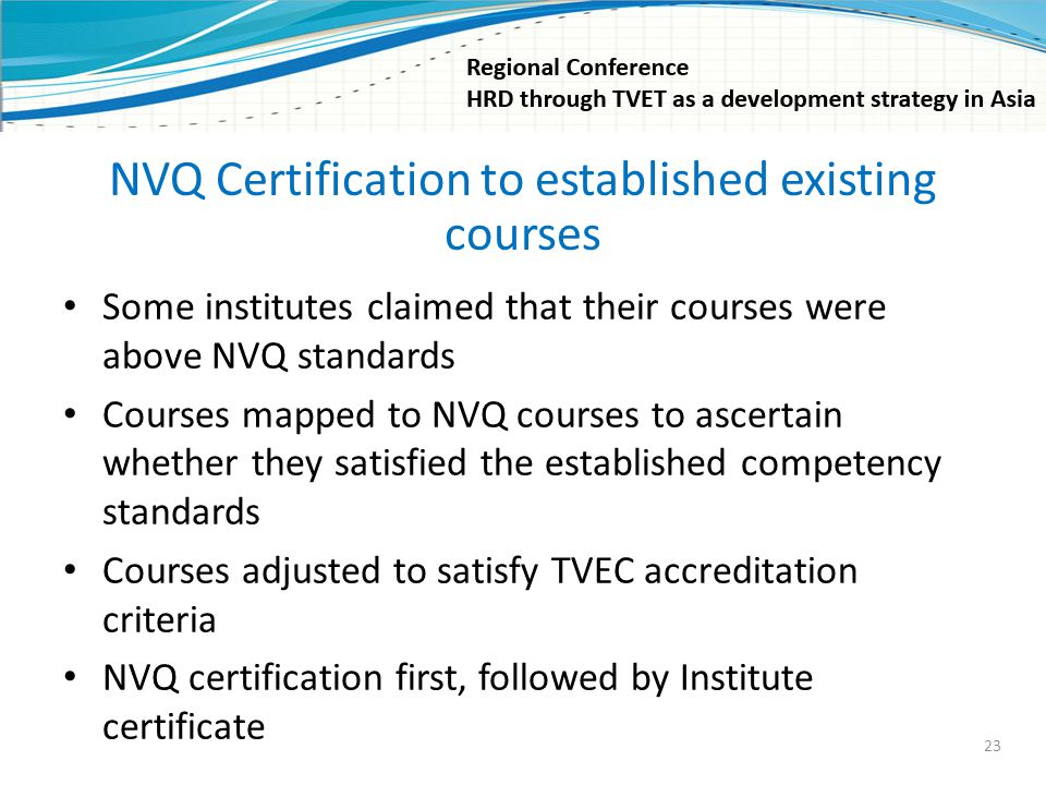 NVQ Certification to established existing courses