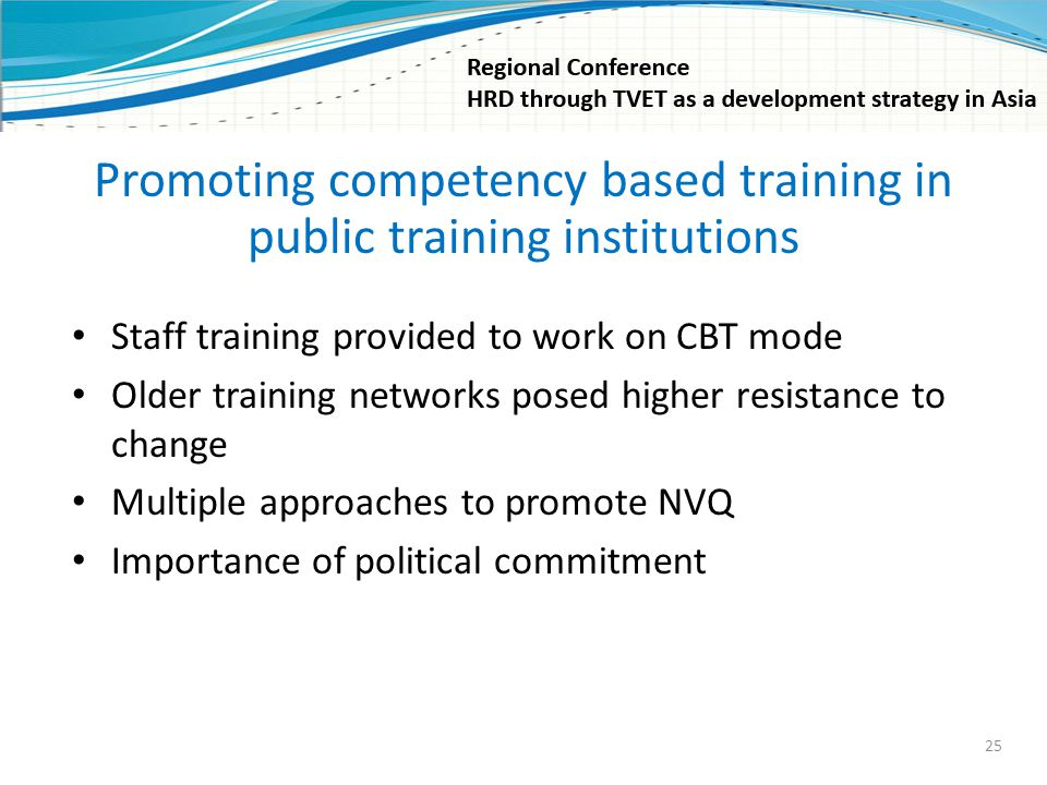 Promoting competency based training in public training institutions