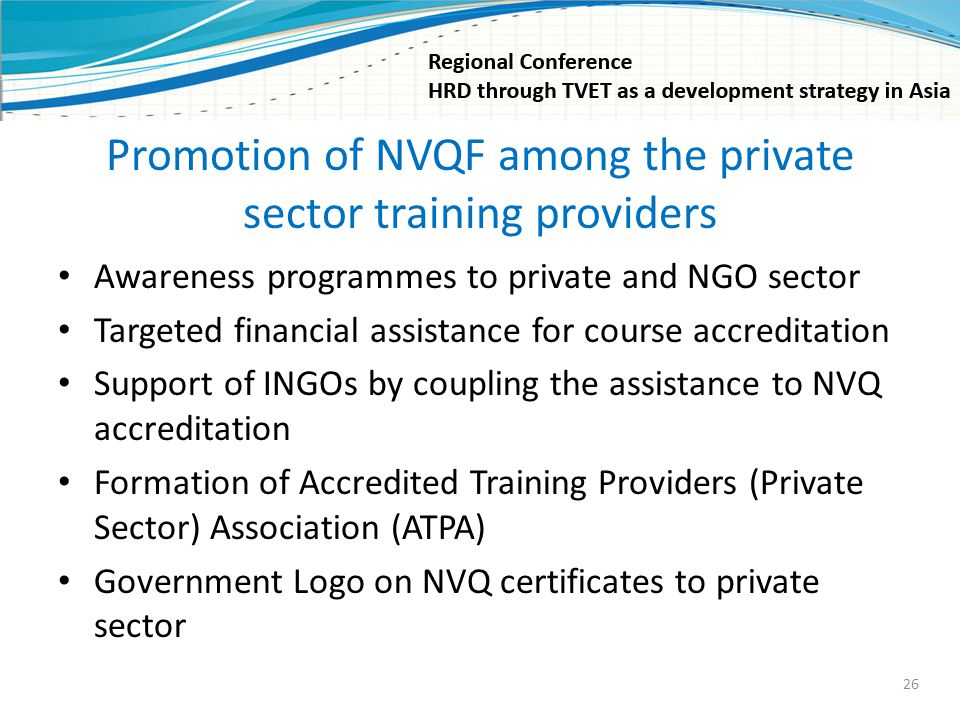 Promotion of NVQF among the private sector training providers