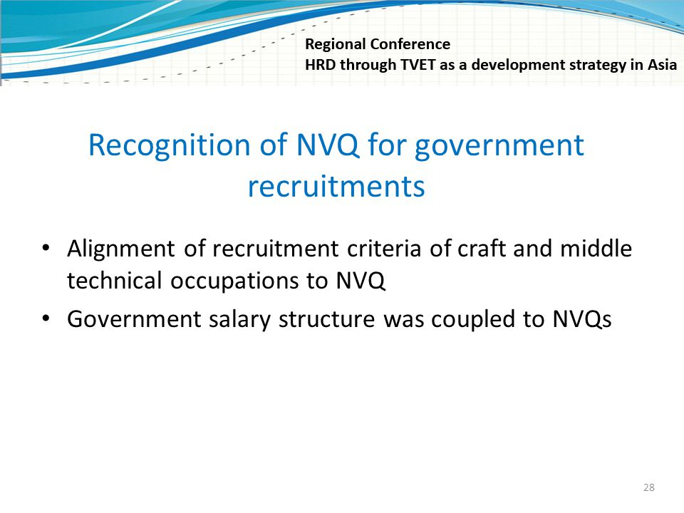 Recognition of NVQ for government recruitments