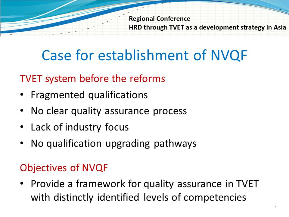 Case for establishment of NVQF