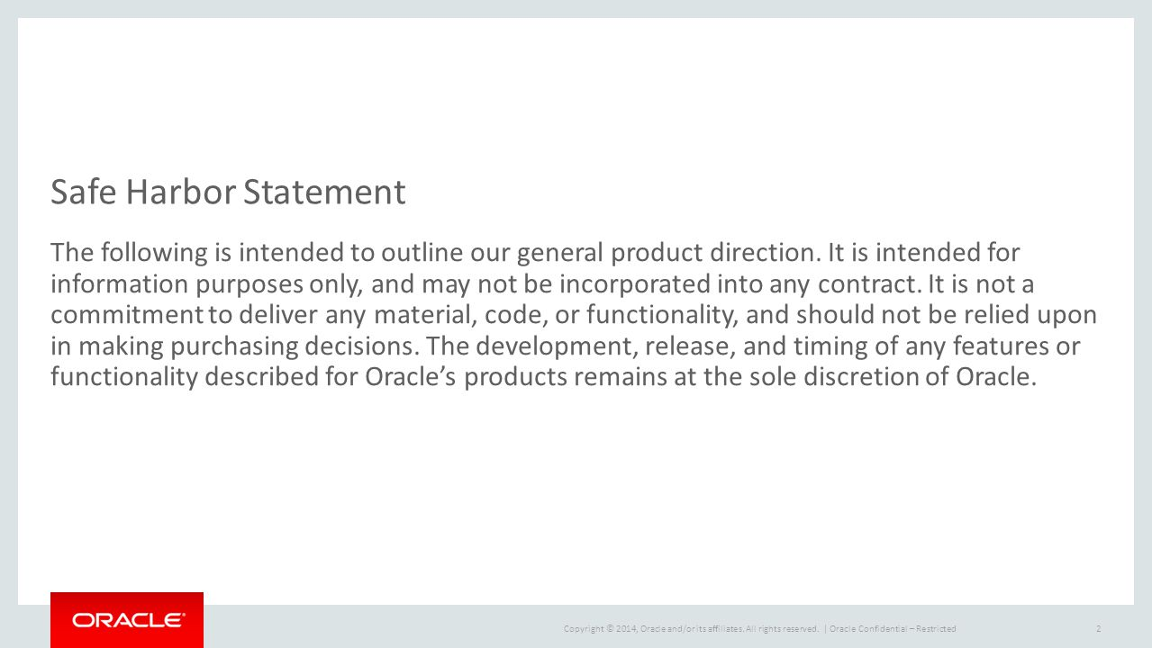 Oracle Confidential – Restricted