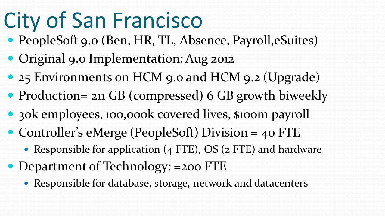 City of San Francisco PeopleSoft 9.0 (Ben, HR, TL, Absence, Payroll,eSuites) Original 9.0 Implementation: Aug 2012.