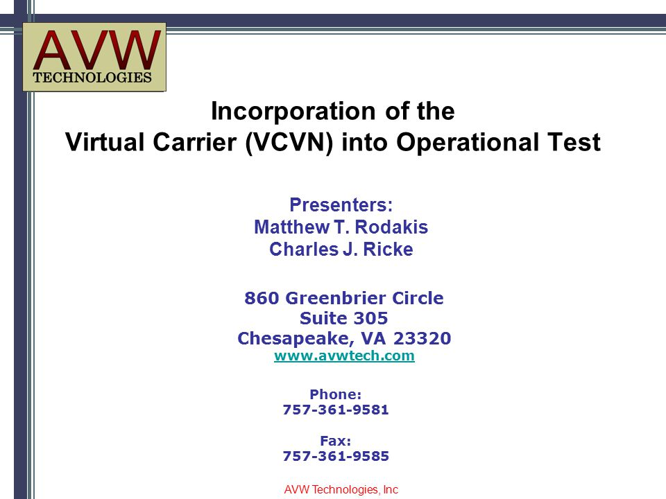 Incorporation of the Virtual Carrier (VCVN) into Operational Test