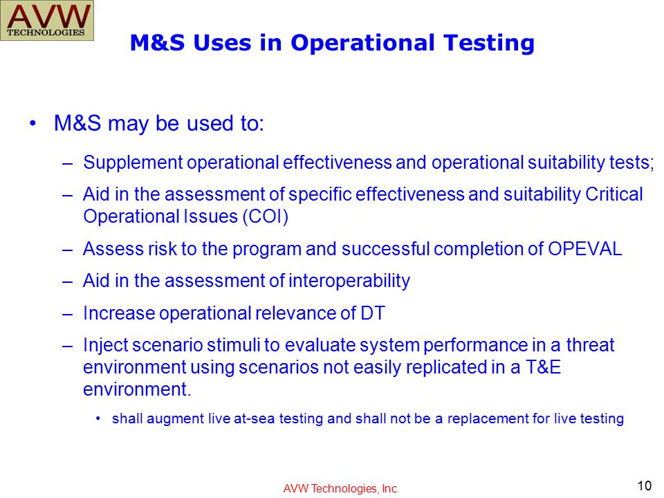 M&S Uses in Operational Testing