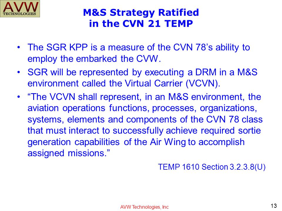 M&S Strategy Ratified in the CVN 21 TEMP