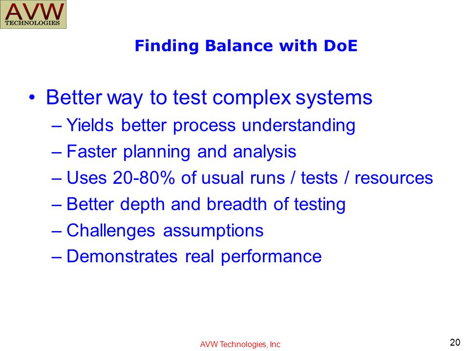 Finding Balance with DoE