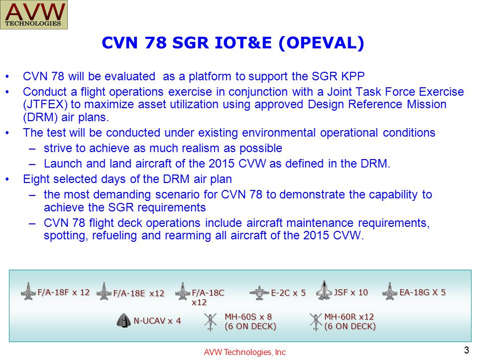 CVN 78 SGR IOT&E (OPEVAL) CVN 78 will be evaluated as a platform to support the SGR KPP.