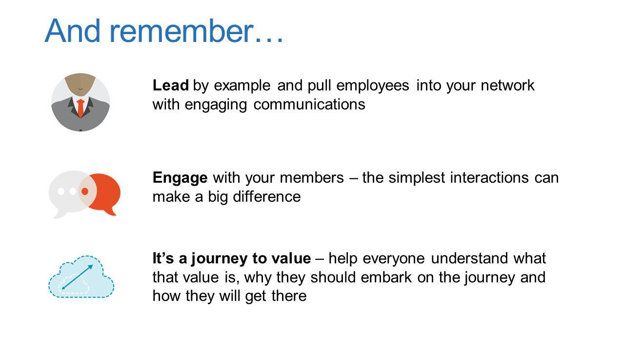 And remember… Lead by example and pull employees into your network with engaging communications.