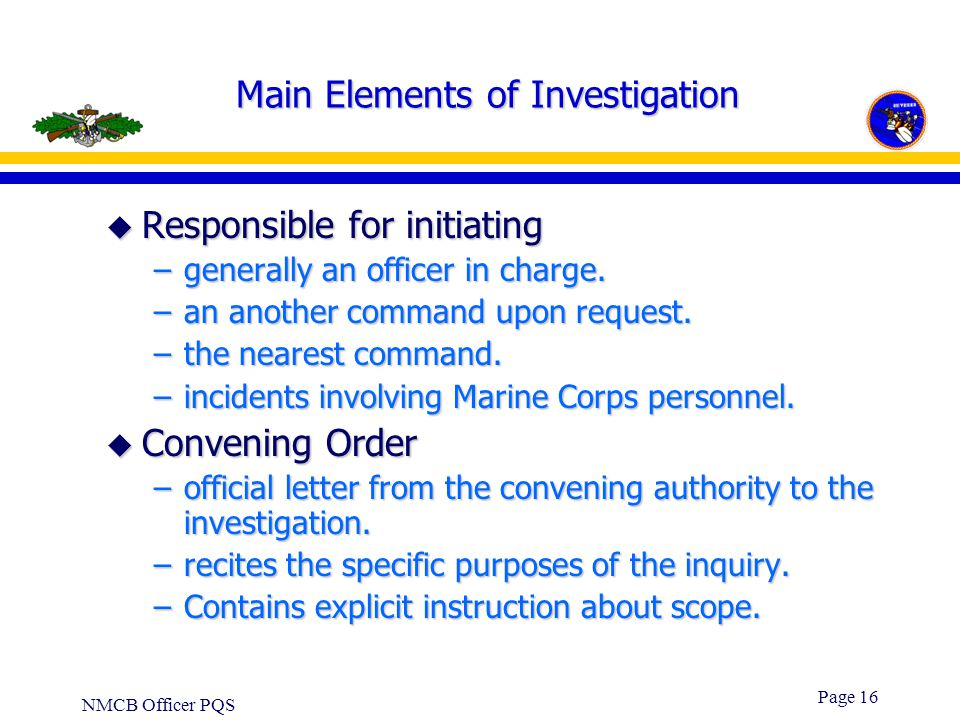 Main Elements of Investigation