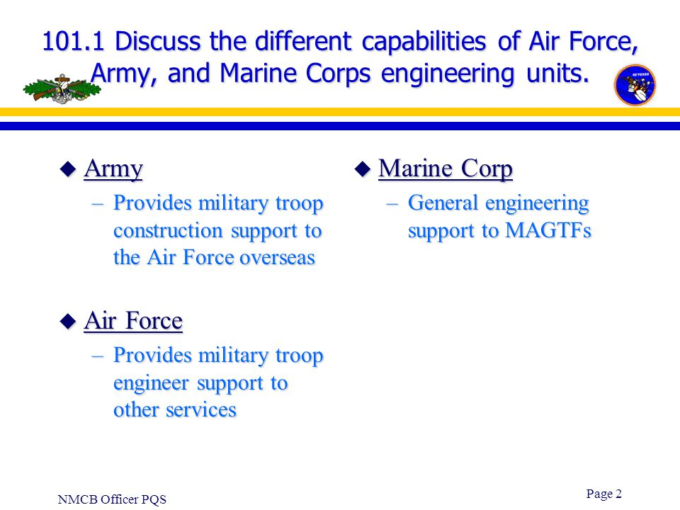 101.1 Discuss the different capabilities of Air Force, Army, and Marine Corps engineering units.