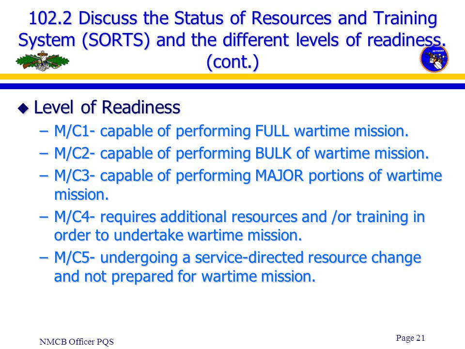 102.2 Discuss the Status of Resources and Training System (SORTS) and the different levels of readiness. (cont.)