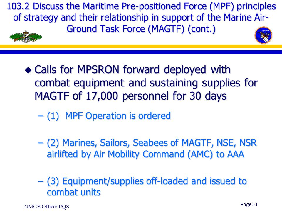 103.2 Discuss the Maritime Pre-positioned Force (MPF) principles of strategy and their relationship in support of the Marine Air-Ground Task Force (MAGTF) (cont.)