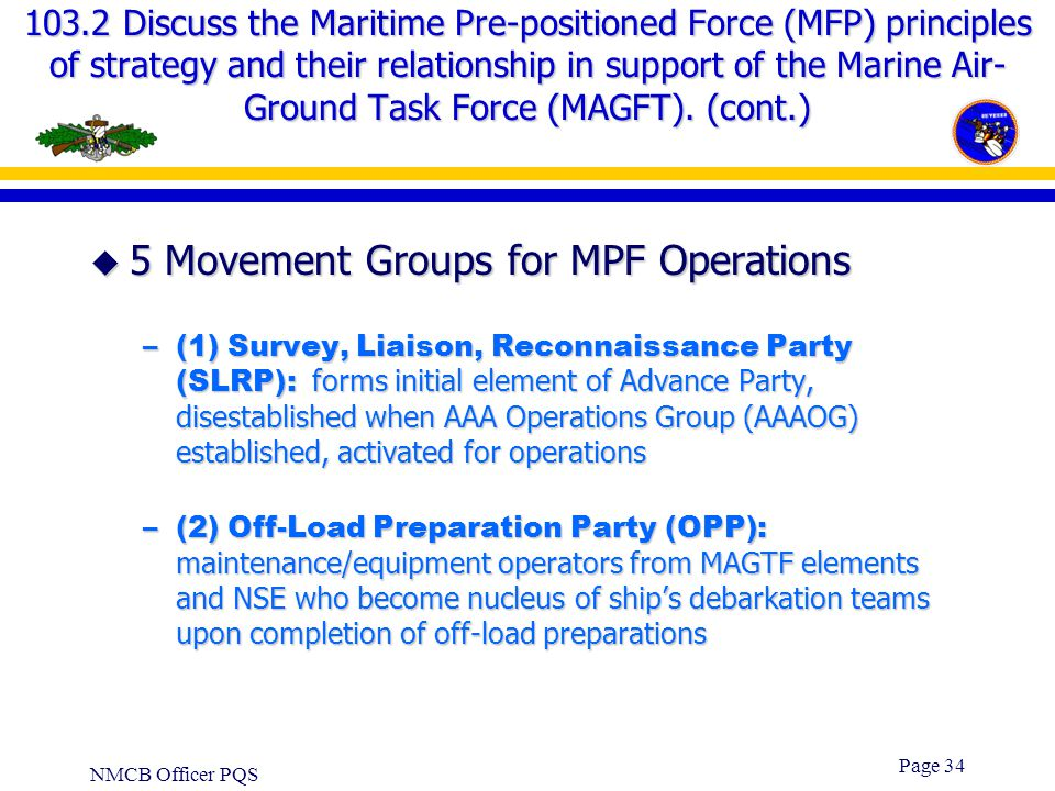 5 Movement Groups for MPF Operations