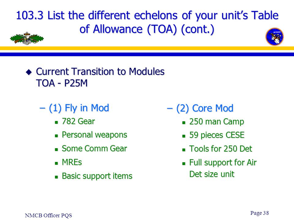 103.3 List the different echelons of your unit's Table of Allowance (TOA) (cont.)