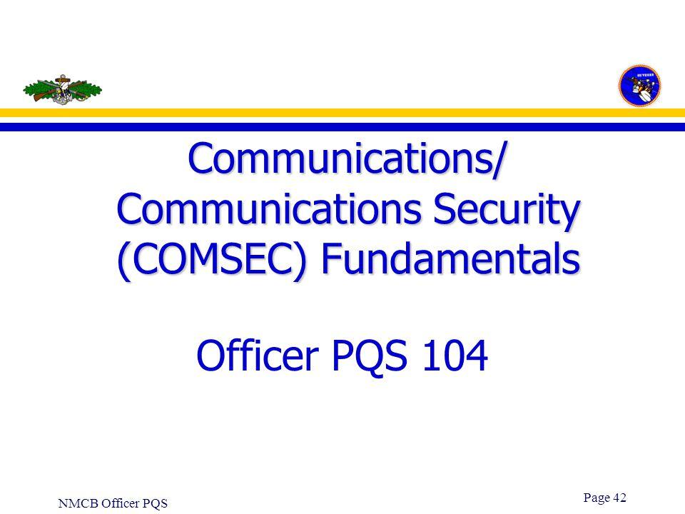 Communications/ Communications Security (COMSEC) Fundamentals