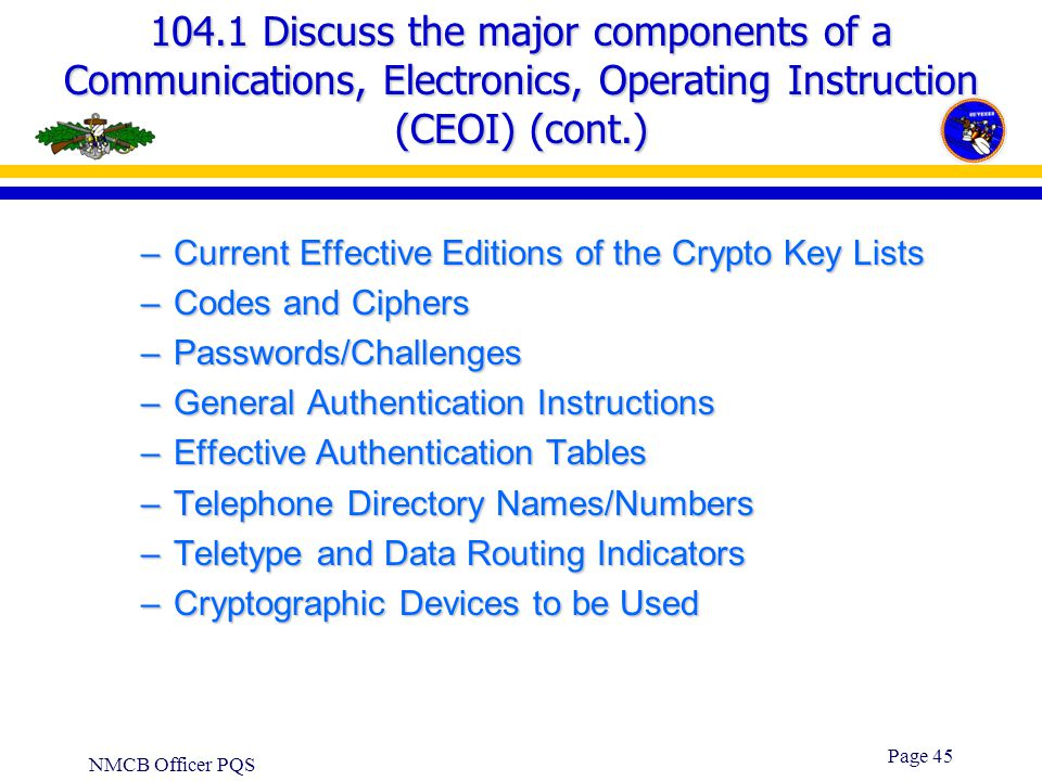 104.1 Discuss the major components of a Communications, Electronics, Operating Instruction (CEOI) (cont.)
