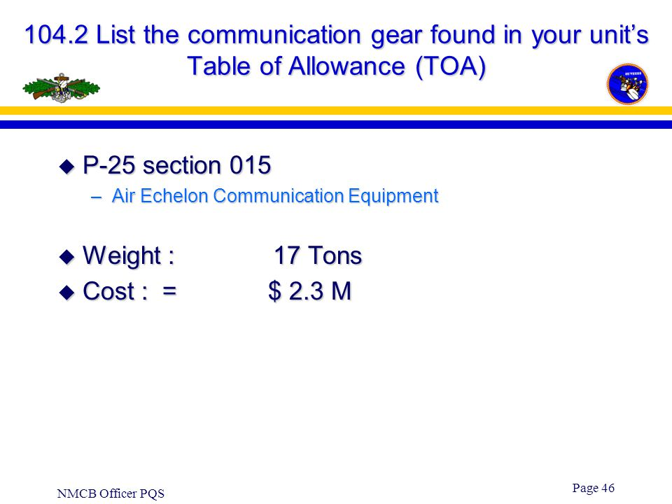 104.2 List the communication gear found in your unit's Table of Allowance (TOA)