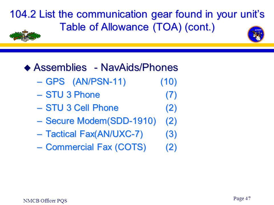 Assemblies - NavAids/Phones